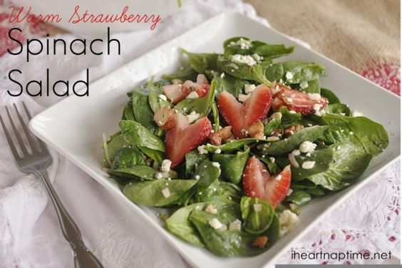 Warm Strawberry Spinach Salad | Top 50 St. Patrick's Day Green Food - have fun with St. Patrick's Day and surprise your family and friends with these fun, festive green recipes!