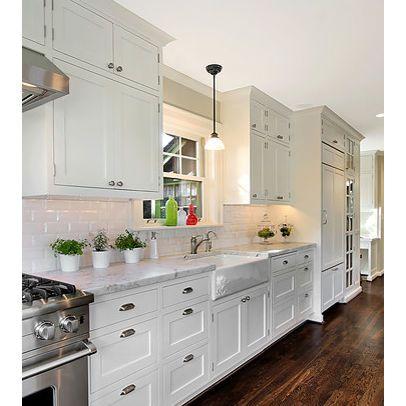 White galley kitchen design h o m e pinterest galley for Galley kitchen cabinets for sale