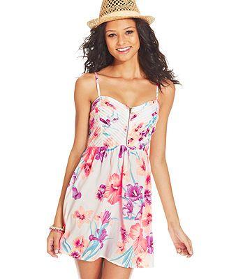 Roxy Juniors&-39- Shore Thing Floral-Print Dress Macys - Swim suits ...