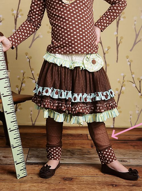 Mustard Pie Georgia Lace Legging for Girls in Brown  $38.00