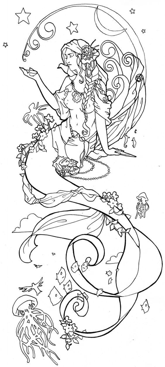 Download Or Print This Amazing Coloring Page Art Noveau But Busy Mermaids Pinterest Mermaids Ar In 2020 Mermaid Coloring Pages Mermaid Coloring Mermaid Tattoos