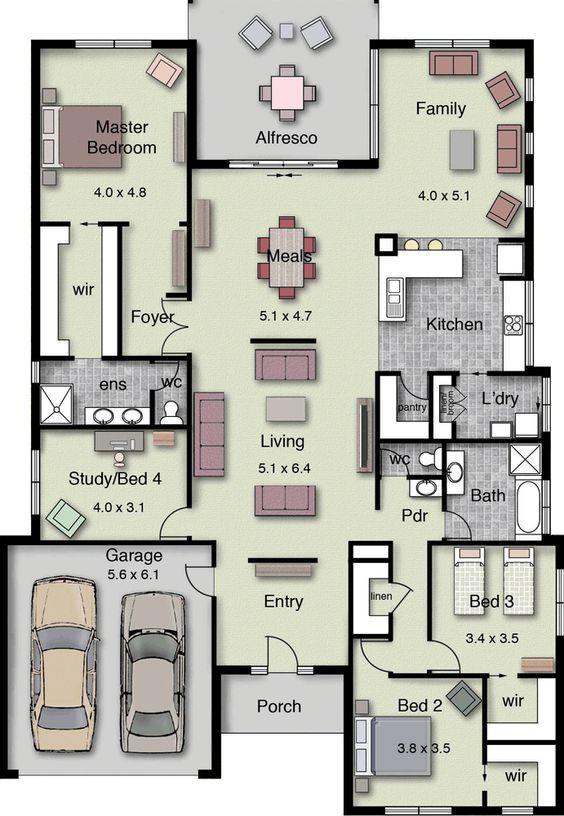 4 Bedrooms House Ground Floor Plan Between 200 2500 Sq Ft Luxury Floor Plans House Layout Plans Floor Plans