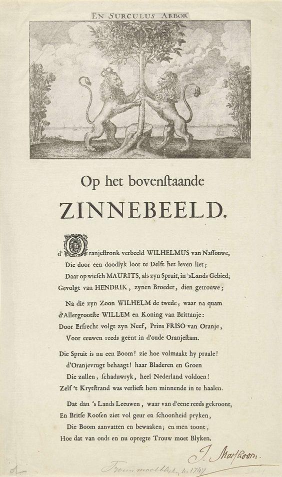 Wenceslaus Hollar | Allegorie op de verheffing van Willem IV, 1747, Wenceslaus Hollar, Johannes Marshoorn, 1641 | Allegorie op de verheffing van Willem IV tot stadhouder van de Republiek, mei 1747. De Oranjeboom vastgehouden door de Nederlandse en de Engelse Leeuw (met koningskroon). De spuit is nu tot een boom (Willem IV) gegroeid. Aan weerszijden struiken met Engelse rozen. Afdruk van een oude plaat vervaardigd ter gelegenheid van het huwelijk van prins Willem II en Maria Stuart in 1641…