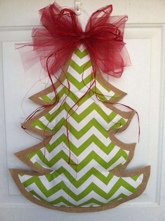Green chevron and  Burlap christmas tree by AmberlynsDoorDecor