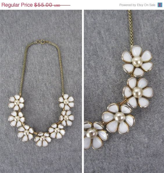 SALE .... vintage 50s floral necklace / choker / white / glass / faux pearl / gold. $46.75, via Etsy.
