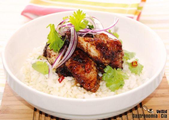 Alitas de pollo con salsa teriyaki