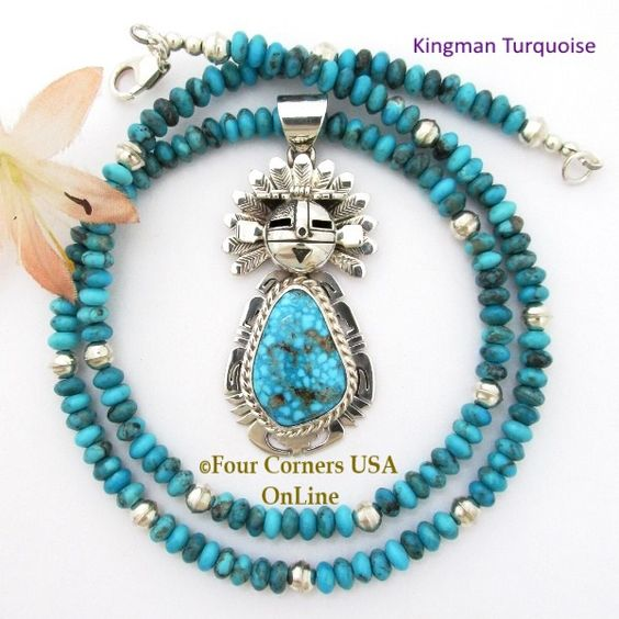 Four Corners USA Online - Kingman Turquoise Sun Kachina Pendant 21 Inch Bead…
