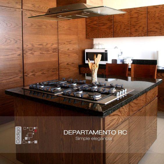 Departamento RC Cocina moderna   madera   granito negro