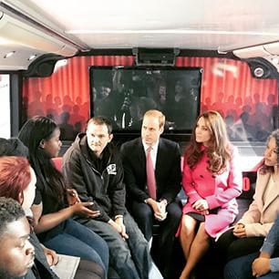 The Duke and Duchess of Cambridge chat to young people and hear their stories during a visit to the XLP London bus, a mobile youth centre parked in the Hazel Grove estate in Sydenham, London. Their Royal Highnesses take a keen interest in young people and, through their Royal Foundation, seek to support them to build skills and confidence and aspirations #XLPRoyals