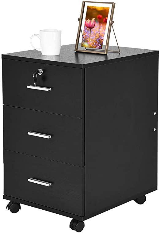 3 Drawers Wooden Mobile File Cabinet Bedside Table With Lock Data Cabinet Wood Filing Cabinet Modern Drawer In 2020 Modern Drawers Mobile File Cabinet Filing Cabinet