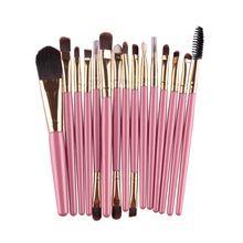 15 Pcs Escova Cosmética Profissional de Maquiagem Mulheres Foundation Sombra Delineador Lip Marca Make Up Eye Brushes Set 4 Cores A8 alishoppbrasil