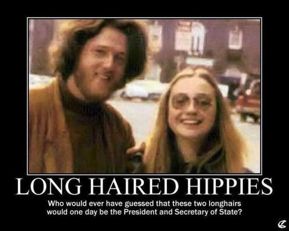 Image result for hillary and bill hippie meme
