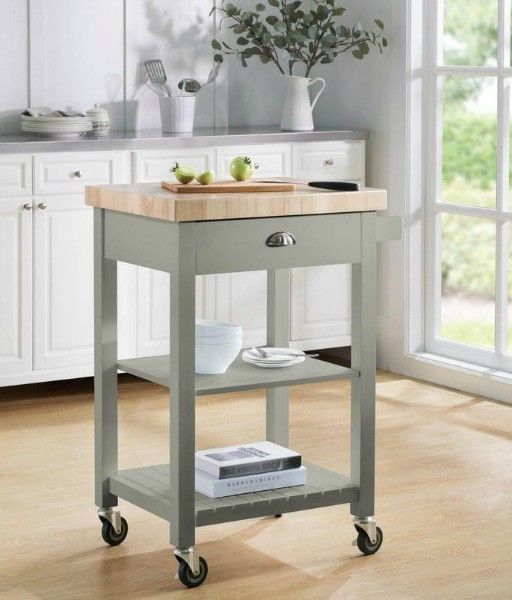 Small Kitchen Island Gray Rolling Cart Butcher Top Storage Rolling Shelf Prep Tinyshamr Grey Kitchen Island Kitchen Remodel Small Kitchen Island Dining Table
