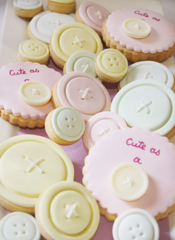 """Cute as a button"" cookies ... this would be a cute dessert for a Baby shower!"