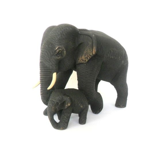Hand Carved Elephant With Baby Wood Carving Elephant Natural Teak Wood Elephant Handmade Wooden