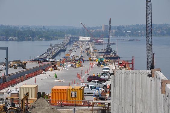 Almost there! Pontoons B, C and D were placed in the floating bridge alignment on July 8, 2015. All longitudinal pontoons are now in place and the new floating bridge reaches from Medina to Seattle.  Pontoon A will be placed at the west end of the new bridge in late July, officially making the new bridge the World's Longest Floating Bridge.