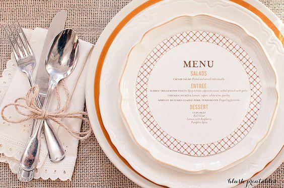 beautiful menu - blush printables.