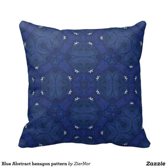 Blue Abstract hexagon pattern Pillow