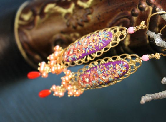 Stunning Purple  with shades of gold and rust clay by Peelirohini, $89.00