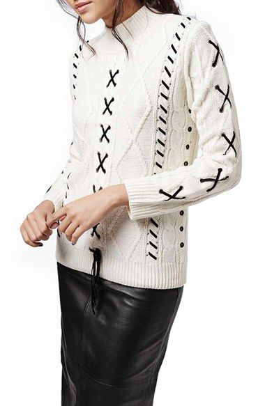 Topshop Embellished Cable Knit Sweater available at #Nordstrom