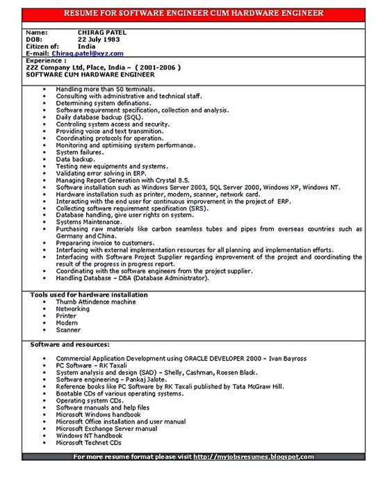 Embedded resume software