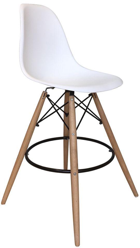 Chaise De Bar Scandinave Goteborg 55x55x106 5 En Bois Metal Et Pp Coloris Blanc Basement Remodeling Home Decor Design