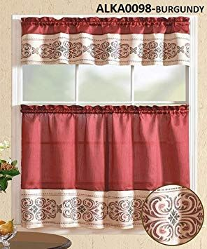 Wpm World Products Mart 3 Piece Kitchen Curtain Set Burgundy Beige Flower Print 2 Tiers And 1 Valance Alka0098 Burgun Kitchen Curtains Curtain Decor Curtains