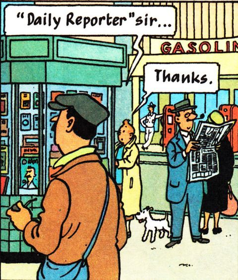 街中で会話をするタンタンの画像