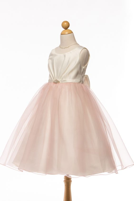 Dress 202 in blush color. #flowergirldresses #petiteadele #blushflowergirldress