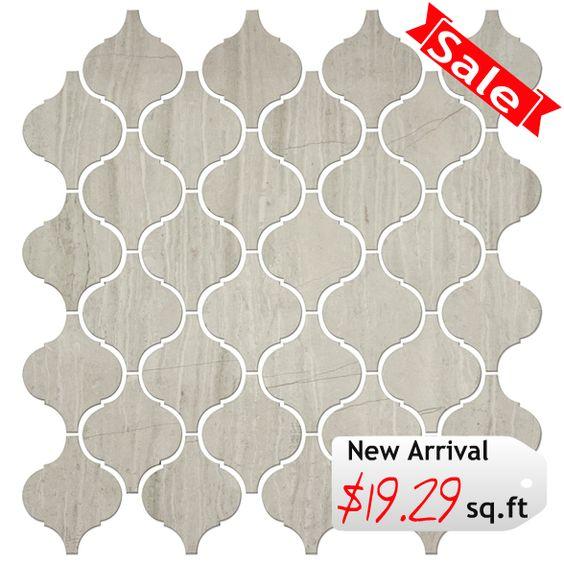 Discount Glass Tile Store - Stone Arabesque Tile - Wooden White Marble $19.29 sq.ft 12x12 Mosaic Mesh Mount Sheet, $19.29 (http://www.discountglasstilestore.com/stone-arabesque-tile-wooden-white-marble-19-29-sq-ft-12x12-mosaic-mesh-mount-sheet/)