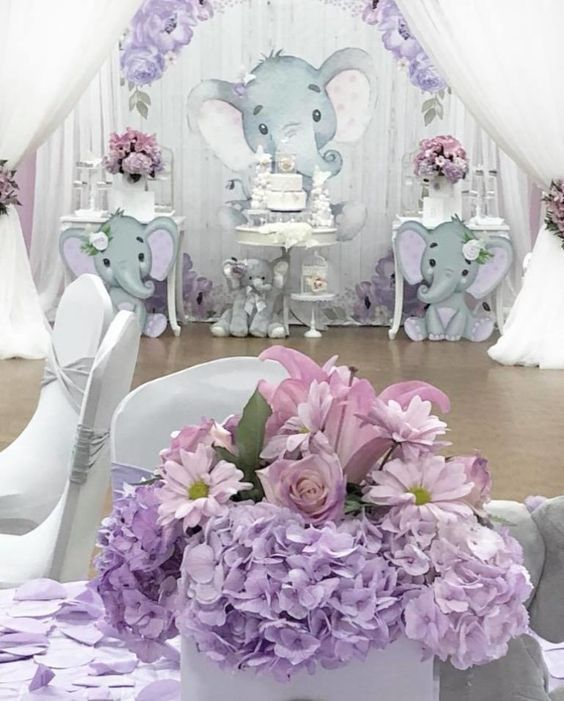 Purple Baby Shower Themes For Girls : purple, shower, themes, girls, Spring, Elephant, Shower, Theme, Girl,, Floral, Decorations,, Theme,