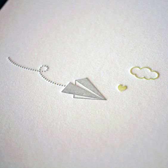 Love this sweet, simple design of the letterpress paper airplane, cloud, and heart. 2-color design is really strong.