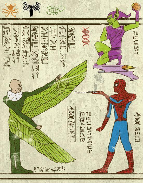 Des super-héros sur des parchemins egyptiens - http://www.2tout2rien.fr/des-super-heros-sur-des-parchemins-egyptiens/