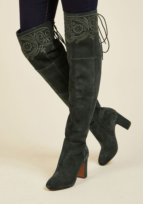 Ennoble Elegance Boot. Daring yet dignified, these over-the-knee boots by Nanette Lepore express your earnest sense of sophistication. #green #modcloth