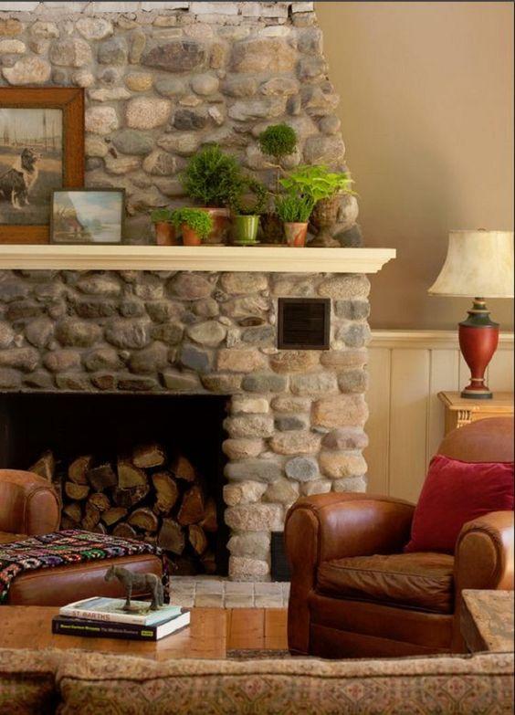 River Rock Fireplace Stone Pinterest Fireplaces