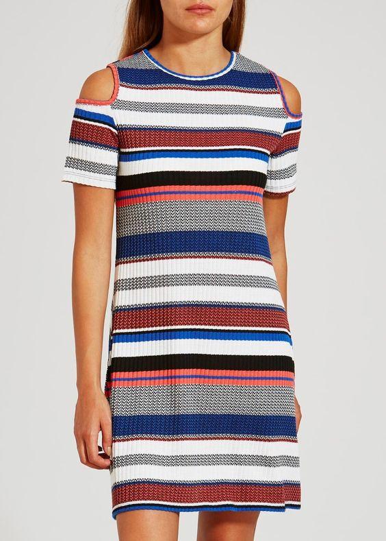 Stripe Rib Cold Shoulder Dress