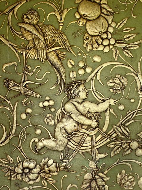 Detail of glorious Victorian wallpaper at Royal Holloway College, London