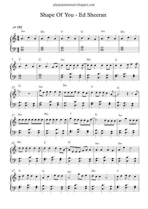 Free Piano Sheet Music Shape Of You Ed Sheeran Pdf Your Love Was