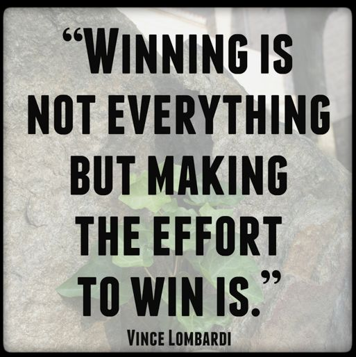 Winning is not everything... but as long as I give 100% ...