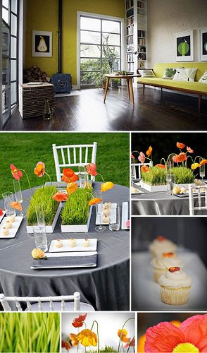 Mid century design and poppy centerpieces!