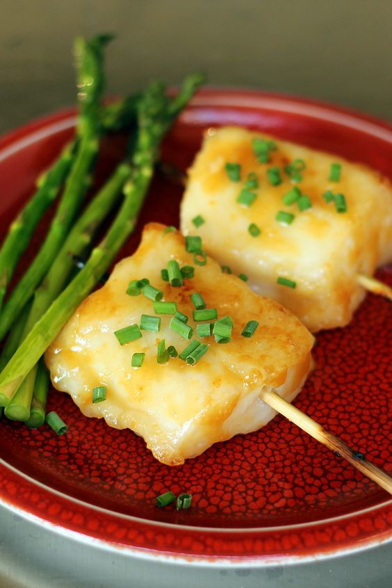Satay of Miso Glazed Chilean Sea Bass Grilled Asparagus ...