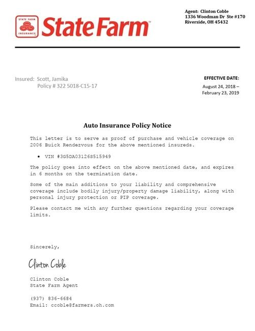 Insurance Policy Verification Letter State Farm Insurance