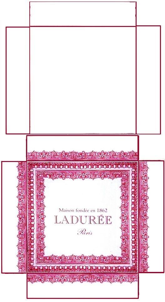 Boîte Ladurée - rajouter les languettes pour coller les côtés (voir modèle doré) - à imprimer sur bristol de couleur