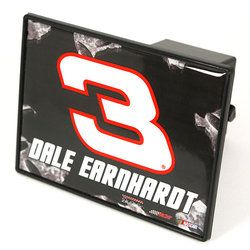 """#3 Dale Earnhardt Sr. NASCAR Trailer Hitch Covers  A full color trailer hitch cover. These pieces are made from high gauge PVC plastic and very durable. They are covered with resin for a dome finish and made to fit a 2"""" receiver hitch. Retaining pin is included and total size is 3.75"""" x 6"""". $15.00"""