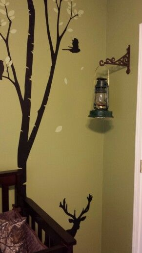 Antique lantern & wall decals. Hunting theme nursery
