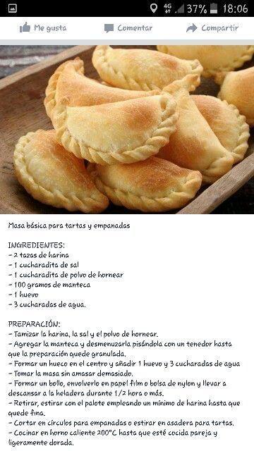 Masa Básica Tartas Y Empanadas Receta De Empanadas Recetas Deliciosas Empanadas Horneadas