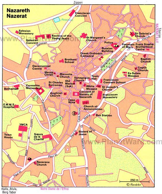 Mapa Nazaret - atracciones turísticas