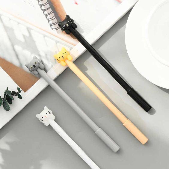 لطيف القط قلم محايد اللون المدرسة القلم 0 5mm أسود Kawaii هلام القلم مكتب قلم توقيع لوازم مكتبية أقلام هلام Aliexpress Gel Pens Cute Pens Cat Pen