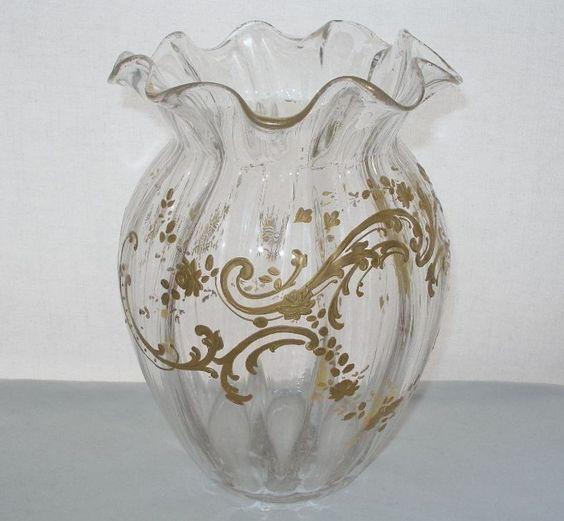 ASTOUNDINGLY Gorgeous ART NOUVEAU Glass VASE Gold HP Signed GLOWS in BLACKLIGHT #ArtNouveau