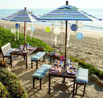 Pottery Barn Beach Party Ideas, Decor, Recipes, Pinata and Sand casts